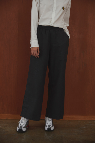 LOOSE WIDE BANDING PANTS CHARCOAL