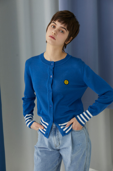 SM:]E PATCH FEMALE CARDIGAN CLASSIC BLUE