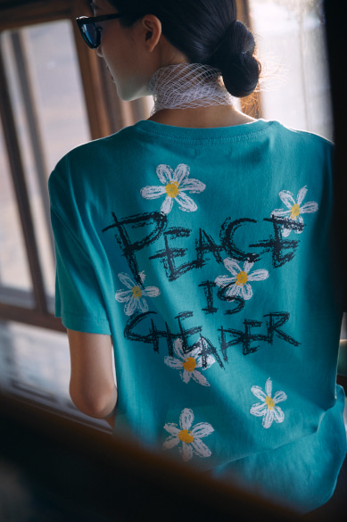 PEACE IS CHEAPER T-SHIRT CYAN BLUE