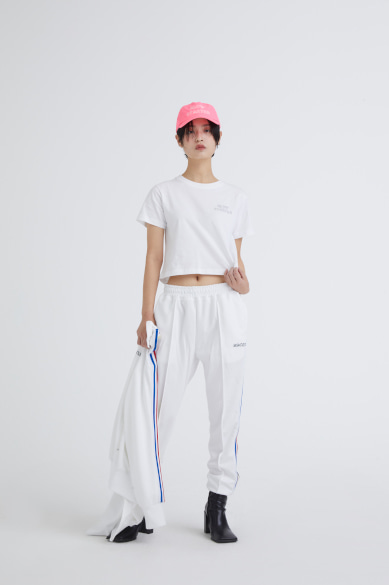 OUTLINE SLOW STARTER CROP SS T-SHIRT WHITE_M19BST007WH