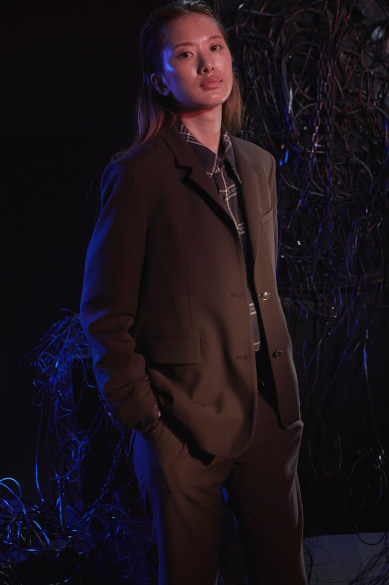 NOIR SIDE PLACKET BLAZER BROWN