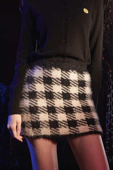 CHECK EYELASH YARN MINI SKIRT BLACK CHECK