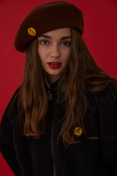 SM:]E PATCH WOOL BERET BROWN