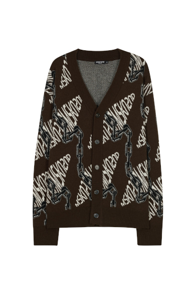 CHAIN JACQUARD CARDIGAN BROWN