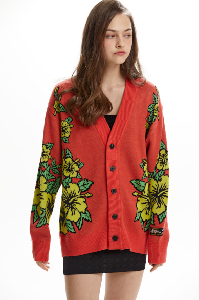 HAWAIIAN PATTERN JACQUARD CARDIGAN INDIAN RED