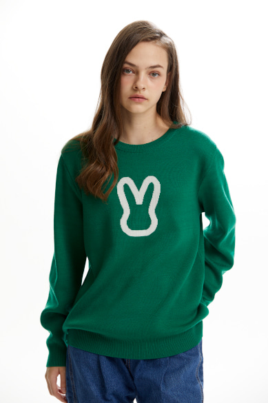 MOON BUNNY SWEATER GREEN